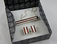 Srebrny komplet męski z bursztynem+grawer+pudełko
