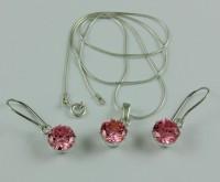 Srebrny komplet biżuterii z cyrkonią swarovskiego - jasny róż